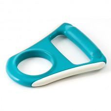 Ручка для бутылей обрезиненная голубая плоская